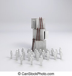 3d crowd man and  stack of boxes, success in business concept