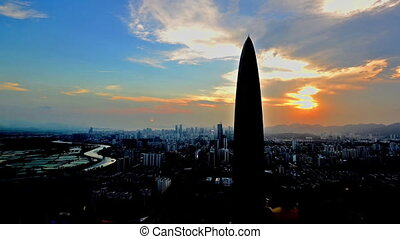 Jingji 100 building at sunset in Shenzhen, China