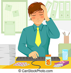 sick at work - young man feeling ill during work