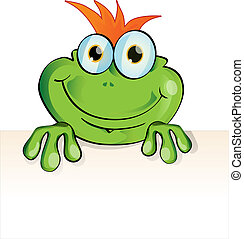 funny frog cartoon with signboard