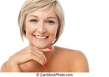 Portrait of a beautiful smiling lady - Attractive middle...