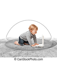 protection - safe internet for little child