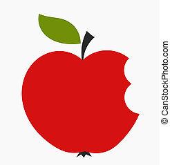Apple bite - Bitten red apple icon. Vector illustration