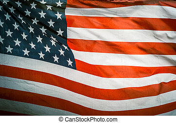 Retro Vintage USA Flag In Wind