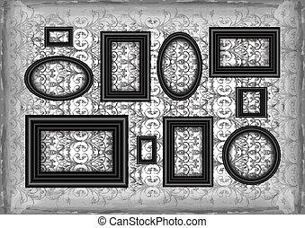 Frames on ornamental grunge background