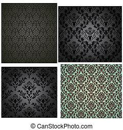Damask seamless pattern set