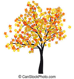 Autumn maple tree. EPS 10 Vector illustration without...