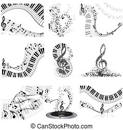 Musical notes staff set Vector illustration with...