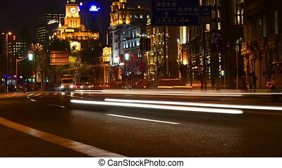 The heavy traffic in Shanghai Bund, China