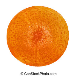 Slice carrot on white background. Clipping Path