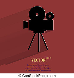 Videocamera. Flat modern web button with long shadow and...