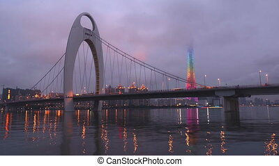 From day to night,Liede Bridge and Guangzhou Tower in...