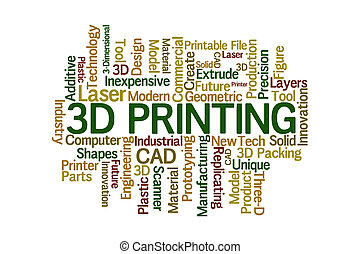 3D Printing Word Cloud on White Background