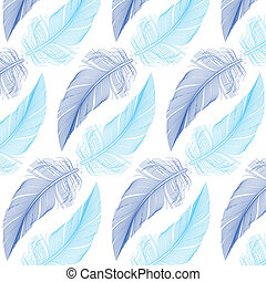 feather seamless pattern, vector - blue feathers seamless...