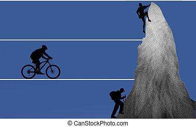 outdoor - biker, hiker, freeclimber as silhouette in...