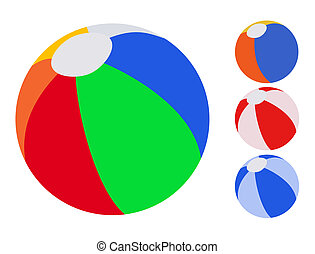 Inflatable ball - 4 colorful inflatable ball on white...