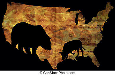 stock desaster - large bear and small bull, the symbols of...