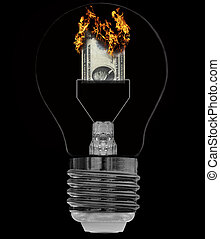save energy - burning bill as filament in electric light...