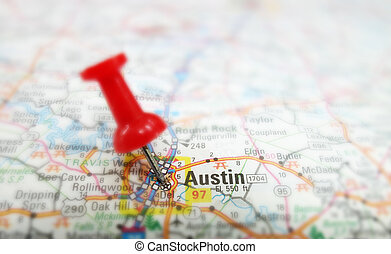 Austin map - Closeup of a map of Austin Texas with red tack...