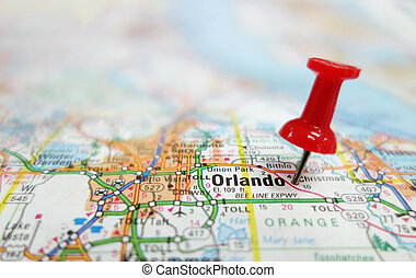 orlando - Closeup of Orlando Florida map and red tack...