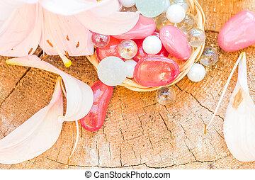 Spa concept zen stones colored lily