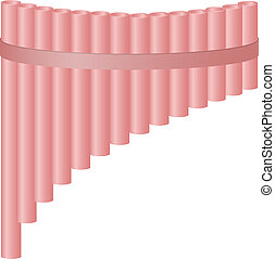 Pan flute in light red design on white background