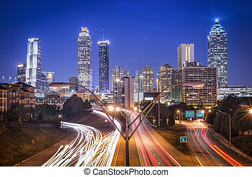 Atlanta, Georgia, USA skyline at night.