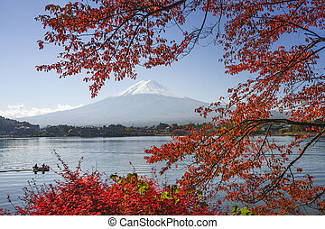 Mt Fuji in Fall - Mt Fuji, Japan at Lake Kawaguchi during...