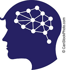 Concept of network brain logo