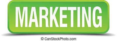 Marketing green 3d realistic square isolated button