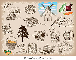 farming - Farm animals sketches objects livest
