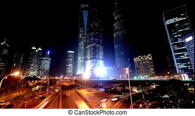 The traffic in Pudong New Area at night in Shanghai, China