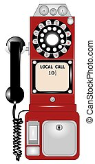 payphone  - retro payphone in red color