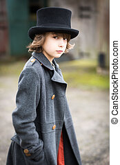 Boy in Long Coat and Top Hat - Portrait of a victorian...