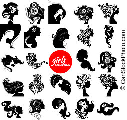 Beautiful women silhouette. Girls collection. Set of vector...