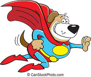 Cartoon dog dressed as a super hero - Cartoon illustration...
