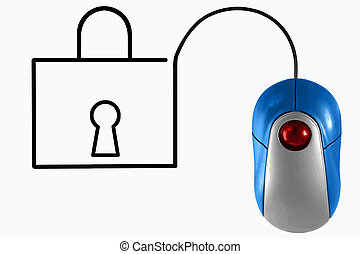 online safety concept - Lock depicted by computer mouse...