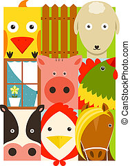 Flat Childish Rectangular Cattle Farm Animals Set