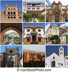 set of photos of famous andalusian landmarks, Spain