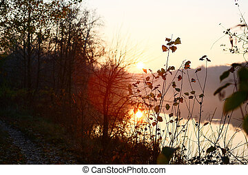 Autumn landscape with the sunset