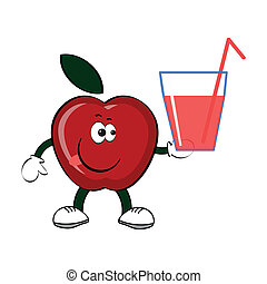 Apple with glass of the juice