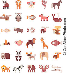 Animal Icons - Animals, Fishes and Birds - set of isolated...