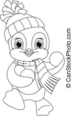 Penguin coloring page - Little penguin playing snowballs