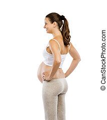 Pregnant woman isolated on white - Studio portrait of a...