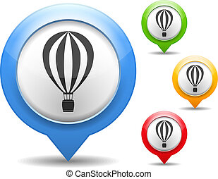 Hot Air Balloon Icon - Map markers with hot air balloon...