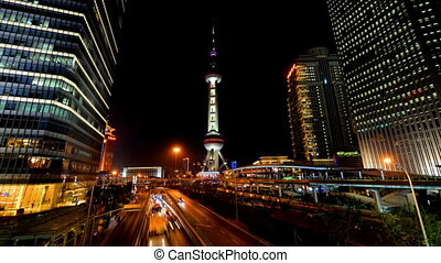 Oriental Pearl Tower and traffic - Oriental Pearl Tower and...