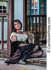 Saloon Girl Portrait - Portrait of an old west saloon girl