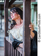 Saloon Girl Portrait - Portrait of an old west saloon girl