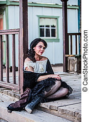 Saloon Girl Portrait - Portrait of an old west girl