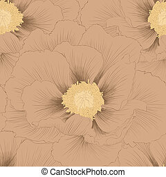 Beautiful seamless background with flowers Plant Paeonia...